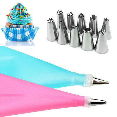 Silicone DIY Icing Piping Cream Pastry Bags + 10 Nozzle Set Cake Decorating Tool