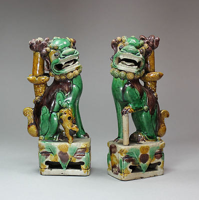 Antique Pair of Chinese biscuit dogs of Fo incense burners, Kangxi (1662-1722)