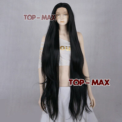 40 Inches Black Long Wavy Women Fashion Lace Front Wig