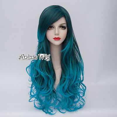 Lolita Mixed Blue Long 80CM Curly Fashion Party Cosplay Wig + Wig Cap