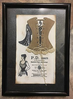 Corset Victorian Picture Frame Art Piece Mixed Media Folk Craft Steampunk NEW
