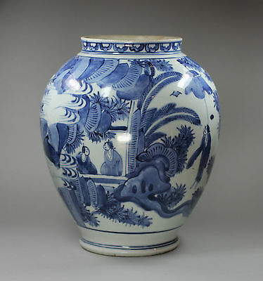 Antique Japanese ovoid blue and white jar, 17th century