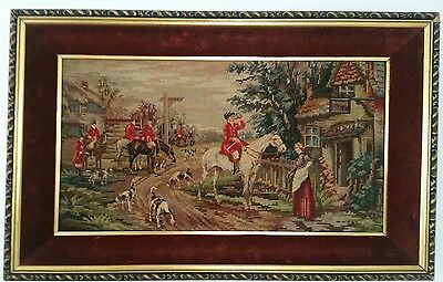 Vintage Large Horse Hunting Tapestry Framed.