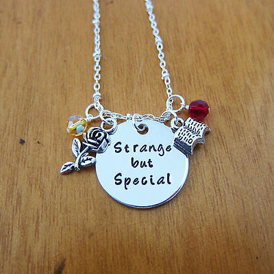 "BEAUTY AND THE BEAST BELLE ""Strange but special"" NECKLACE ROSE BOOK CHARMS"