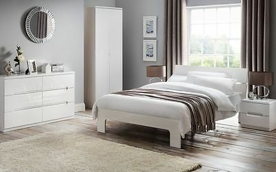 New Stunning Manhattan White High Gloss Bed Frame in 4'6 Double & 5'0 King Size