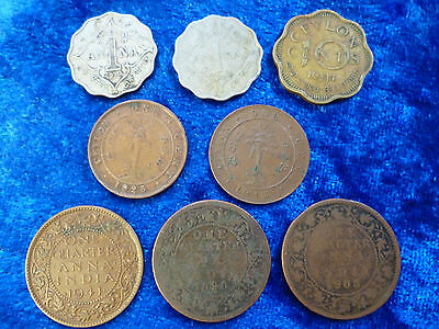 British Territories - India & Ceylon - 8 Coins 1890 - 1946