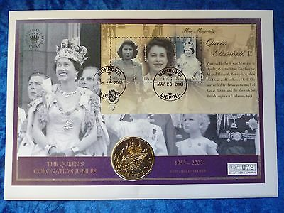 Cook Islands / Liberia 2003 50 Cents Coronation Jubilee BU PNC