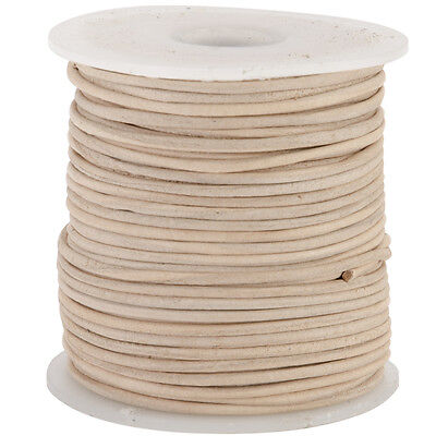 Round Leather Lace 1mmX25yd Spool-Natural