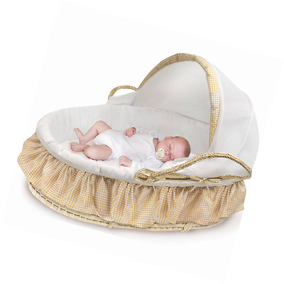 Badger Basket Natural Moses Basket with Fabric Canopy, Beige Gingham