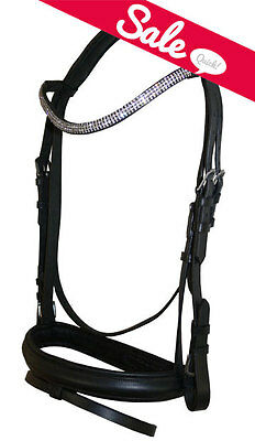 NEW FULL English Dressage Show Bridle Clear Crystal U Curve Shape Browband Bling