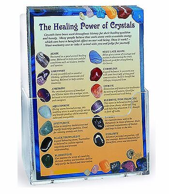 A5 Laminated HEALING POWER OF CRYSTALS Card 30 Stones Howlite Rose Agate Jasper