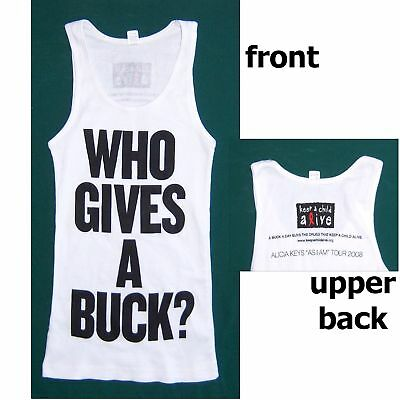 Alicia Keys Who Gives A Buck 08 Girls Tank Shirt L New