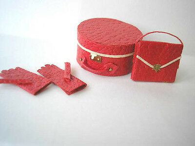 KIT HATBOX  HANDBAG & GLOVES 1/12th dollshouse red leather luggage bag Bs HB
