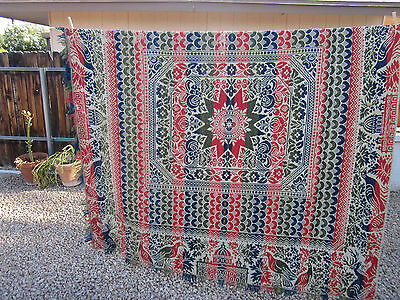 "Wonderful Antique Jacquard Coverlet 72"" x 78"""