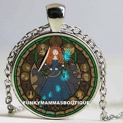 Brave Kingdom Of Hearts Glass Pendant Necklace In Gift Bag Princess Merida