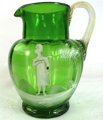 Antique Victorian Mary Gregory Green Glass Pitcher Jug Bohemian