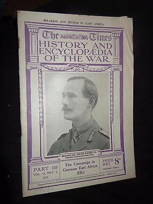 TIMES HISTORY  THE WAR WW1 MAGAZINE # 168 6th NOV 1917  BELGIANS IN EAST AFRICA