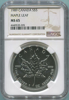 1989 Canada $5 Silver Maple Leaf, NGC MS65
