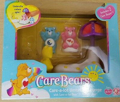 RARE NEW CARE BEARS Care-a-Lot UMBRELLA LOUNGE Play Set Love-a-Lot Bedtime Bears