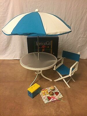 American Girl Table ,chair, Cooler & Food