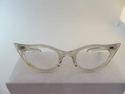 Vintage  Cat Eye Glasses Plastic WHITE Crystal 1950's USA Brand Eyeglass Frame