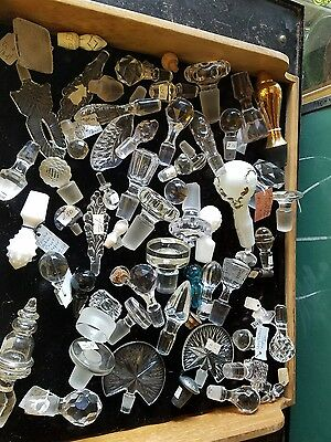 50  plus glass    cruet decanter  perfume   bottle stoppers  ONLY