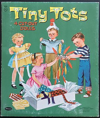 Old & Original TINY TOTS 4 Cut-Out Dolls Paper Dolls Book, 1959,  Uncut