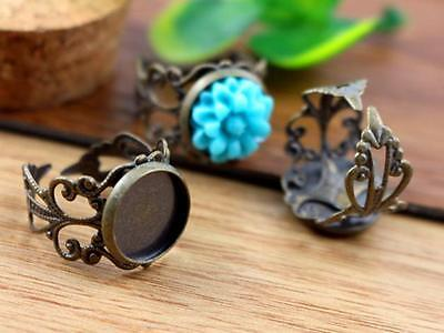 Antique Bronze Adjustable Ring Blanks | Fit 12mm Cabochons | Fancy Band | 10pcs