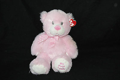"""Baby Ty Pink My First Teddy Bear Pluffies Classic Plush Stuffed Toy 2013 13"""" NWT"""