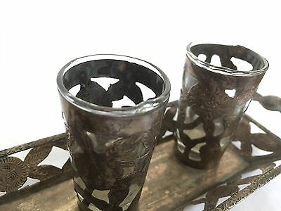 Vtg. Sterling Silver Toquilla Shot glass & tray Set.