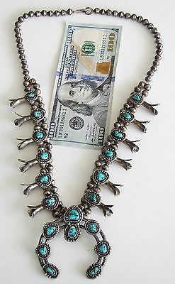 Vintage Native American Sterling Silver Squash Blossom Navajo Necklace Turquoise