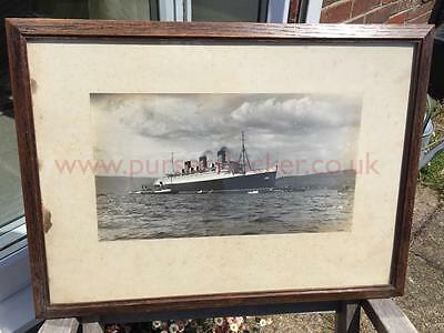 Cunard White Star Rms Queen Mary Lg Framed Unpublished First Pre Maiden Voyage