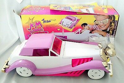 Vintage JEM Glitter N Gold Roadster Car With FM Radio By Hasbro White & Pink