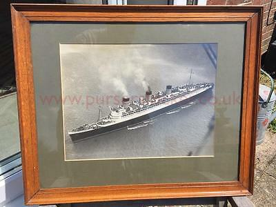Cunard White Star Rms Queen Mary Lg Framed Pre Maiden Voyage Moored Coews Iow 36
