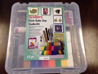 Sculpey Oven Bake Clay Studio 54 Piece Kit Carrying Case tools project book NEW