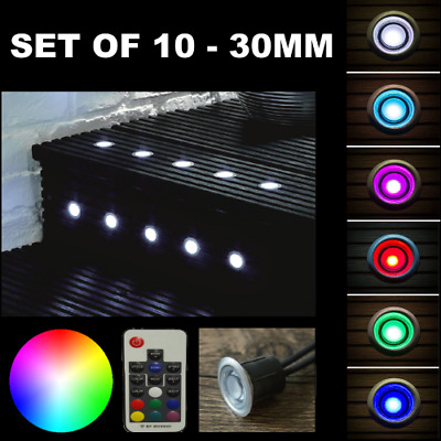Set Of 10 X 30Mm Dimmable Ip65 Rgb Colour Changing Led Decking Plinth Lights