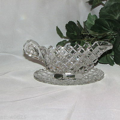 Small Crystal Sauce Boat Plate Saucer Gravy 2 Pieces Creamer Glass Dinnerware