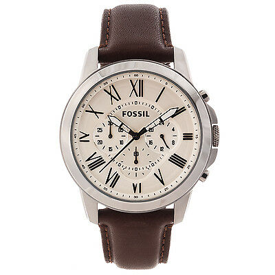 Fossil Mens Grant Leather Strap Chonograph Watch FS4735