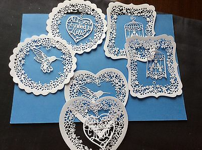 12 Die Cuts. TATTERED LACE In WHITE. THREE Shapes, 2 Sets Each Card Toppers