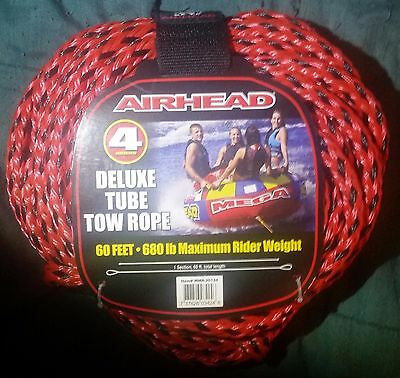 Airhead 4 Riders Deluxe Tube Tow Rope 60 Feet 680 lb Weight Capcity Tubing