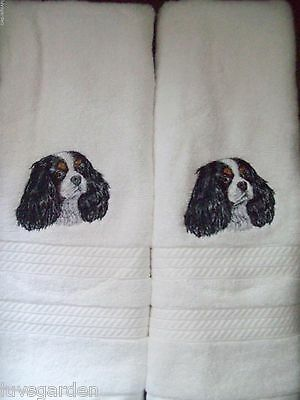 Cavalier King Charles Dog Breed BATHROOM SET HAND TOWELS EMBROIDERED By Vicki