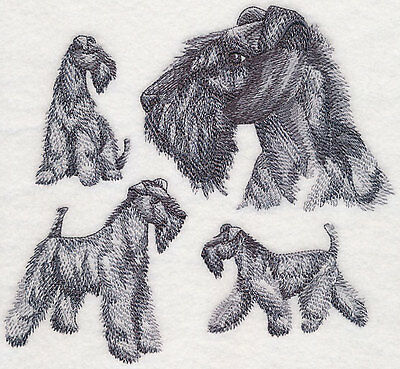 Kerry Blue Terrier Sketch  Dog Breed Bathroom  HAND TOWEL SET EMBROIDERED