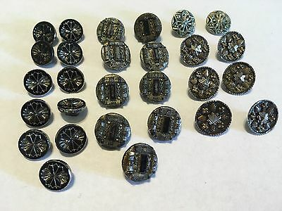 """Antique Vintage Art Deco Silver-Tone and Black Metal Buttons 3/8"""" - 5/8"""" Sparkly"""