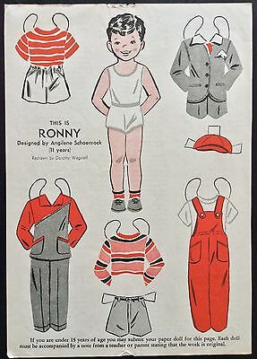 1949, RONNY  Mag. Paper Dolls, Wee Wisdom Mag.,Dorothy Wagstaff Artist
