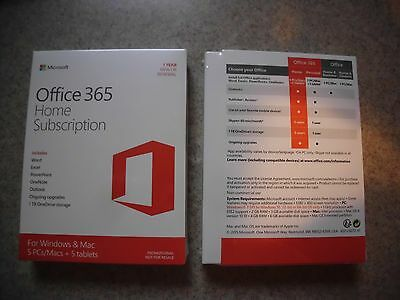 Brand New Microsoft Office 365 Home Sealed Box 100% Genuine MS Software with COA
