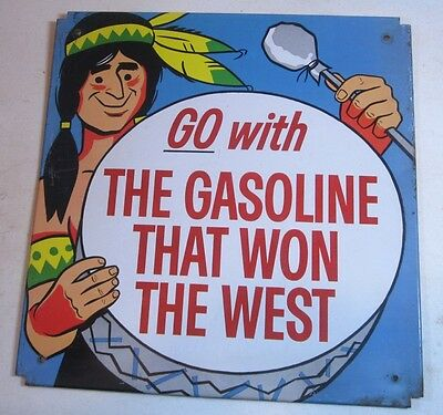 Vintage Phillips 66 Go With the Gasoline That Won the West Metal Sign Indian