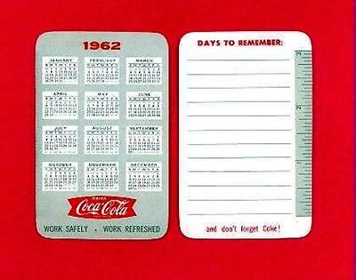 Vintage Advertising Wallet Ruler & Calendar Card - NOS 1962 COCA COLA COKE