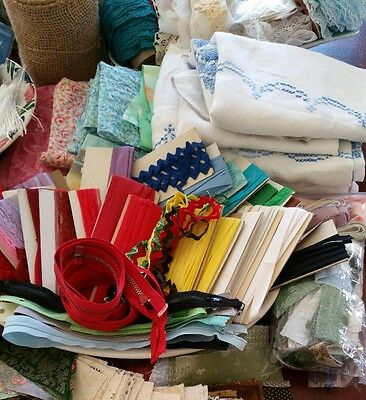 Vintage Now Sewing Craft Lot LBS Quilt Material Lace Fringe Ribbon Thread Zipper