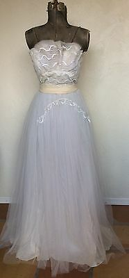 VINTAGE 1950's WHITE TULLE SEQUIN STRAPLESS BALL GOWN Prom Dress L