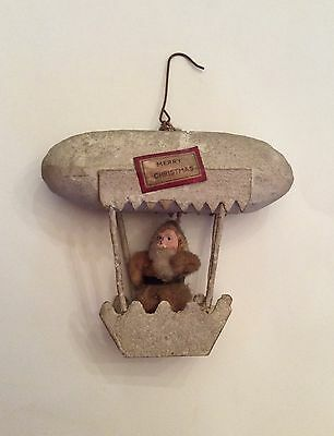 ANTIQUE ZEPPELIN & SANTA CLAUS PAPIER MACHE candy container ORNAMENT Rare